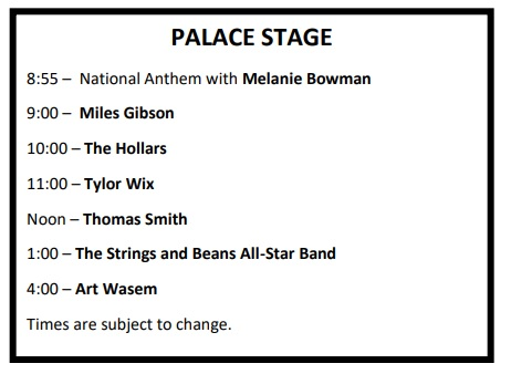 Palace Stage Schedule